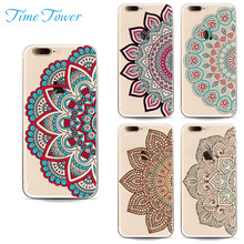 Time Tower 2Pcs Phone Cases For Iphone 7 Case Silicone Back TPU Soft For Iphone 7 Plus Cover Indian Local Customs Flower Pattern(China)