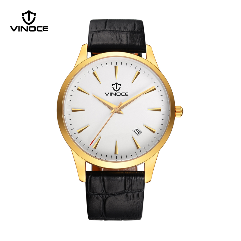 VINOCE  Milanese Genuine Leather Strap Watch Men Calendar Dress Xfcs Clock Top Brand Relogio Masculino Quartz Watch #V60001M.E<br>