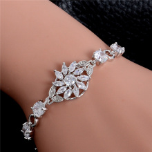 Atreus Top Quality 1pc Sparkling Flower Silver Color CZ AAAA Cubic Zirconia Splendours Bangle Bracelet For Women