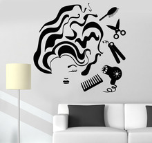 New Creative Vinyl Wall Sticker DIY Hair Salon Tools Woman Hairdresser Stylist Waterproof Mural Interior Wall Decorative LA788(China)