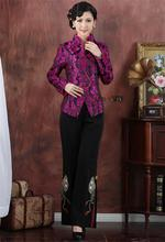 Wholesale Retail Spring Traditional Chinese Clothing Women's Shou word Purple Jacket Outerwear Tops Size M-3XL