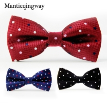 Mantieqingway Solid & Dot Bow Tie Wedding Geometric Noeud Papillon Men & Women Polyester Silk Cravat Bowties Female Neckwear(China)