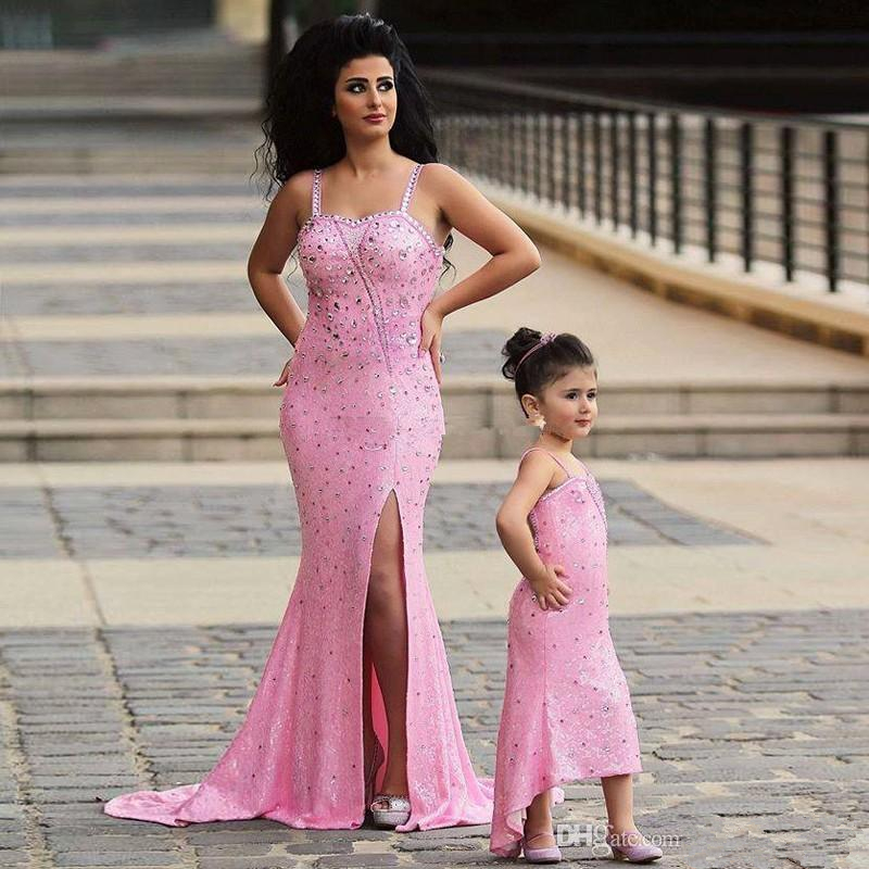 2019 Said Mhamad Pink Mother Daughter Matching Dresses Rhinestones Beaded Mermaid Prom Dress  Evening Gowns For Wedding