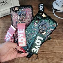 For iPhone 7 Case Glitter Star Liquid Quicksand Silicone Cover for iPhone 7 Plus Smile Dynamic Plating Tassels Sling TPU Fundas