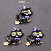 28*31mm 10pcs Cute Black Cat Riding the Broom Resin Cabochons Flatback Crafts DIY Holiday Scrapbooking(China)