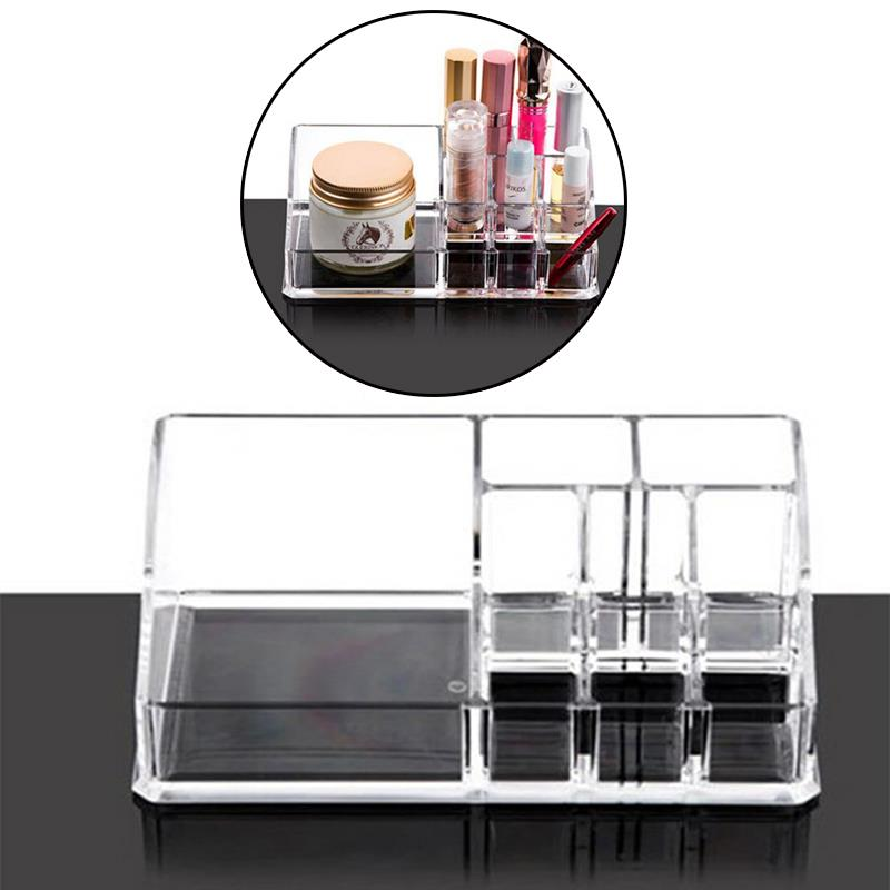 17.3*9.4*6.2cm Applied Cosmetics Organizer Clear Acrylic Make Up Storage Jewelry Case Lipstick Liner Brush Holder Box(China (Mainland))