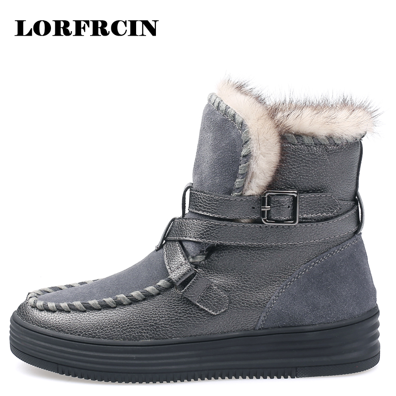 LORFRCIN 2017 Snow Boots Women Real Fur Winter Boots Warm Women Ankle Botas Round Toe Slip on Lady Shoes Bota Feminina<br>