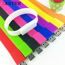 JASTER 100% real capacity Silicone Bracelet Wrist Band 16GB 8GB 4GB USB 2.0 USB Flash Drive Pen Drive Stick U Disk Pendrives