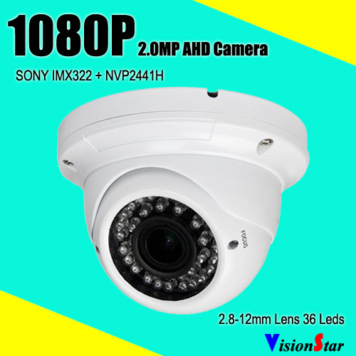 36pcs ir leds 30m ir distance ir-cut metal infrared sony imx322 ahd 2.0mp 1080p manual zoom 2.8-12mm lens security camera<br>