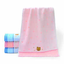 (2piece/lot) Bear 100% Cotton Face Towel For Childern Baby Square 25x50cm In Bathroom Factory Direct(China)