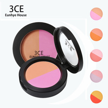 3CE EUNHYE HOUSE Brand Makeup Matte Blusher Cosmetic Natural Baked Blusher Powder Palette Charming Cheek Color 2 color in 1