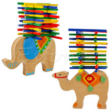 Baby Toys Educational Camel / Elephant Balancing Blocks Balance Game  Wooden Toys Beech Wood Montessori Blocks Gift For Child