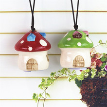 Kawaii Zakka Mushroom House Ceramic Crafts Bells Jushi Craft Gift Doll Bell Windchime Door Hanging Birthday Gif Home Decor