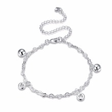 High-quality 925 stamped silver plated Small Bell Anklets Foot Decorative Chain Round Circle Charm Jewelry Gift Drop Shipping