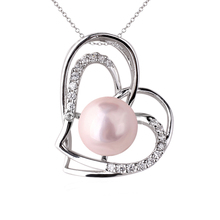 Unique Women Real 925 Sterling Silver Heart Pendant Necklace Multi-color Seashell Pearl for Beloved Jewelry Birthday Gift P056
