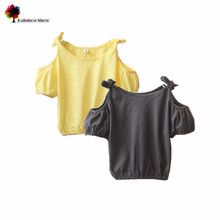 New Children Clothing Summer Girls Fashion Off-the-Shoulder  Laced up Cotton  Sleeveless Jersey Blouse Kids Blouse