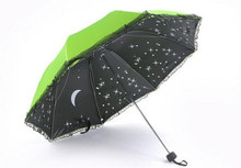 New Hot Moon and Stars Children Umbrellas for Kids Girls Triple Folding UV Protected Parasol Umbrella Rian Women