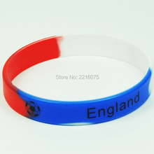 300pcs Black LOGO Flag World Cup England wristband silicone bracelets free shipping by DHL express(China)