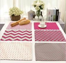 4Pcs/lot Printed Linen Placemat Place mat Table Mat geometry PINK polyester Dinner Coaster Home textile Dec wholesale FG681