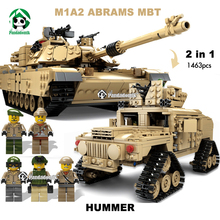 Large 2in1 1463pcs Abrams Tank Military Hummer Building Blocks Kit  Army Models Building Toy  Kazi Bricks Compatible with lego