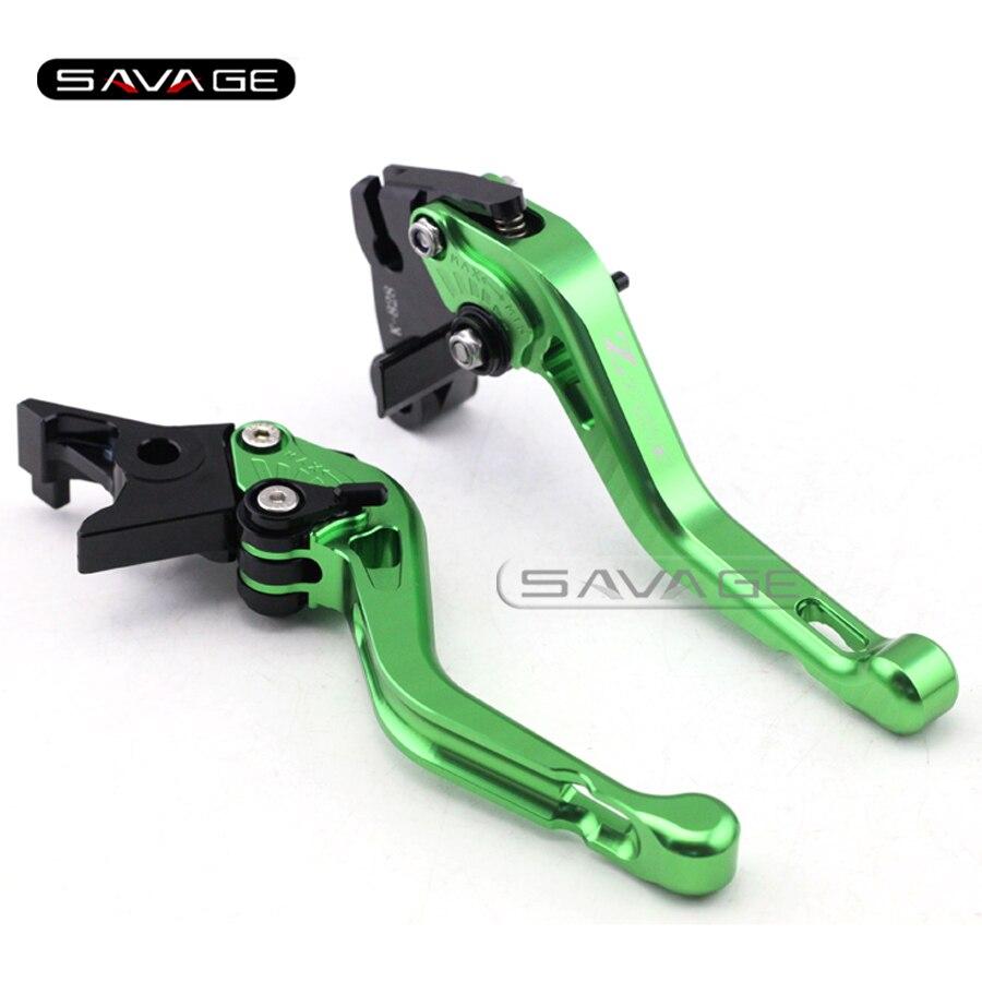For KAWASAKI Z 750 Z750 2007-2012 08 09 10 11 Green Motorcycle CNC Aluminum Adjustable Short Brake Clutch Levers logo Z750<br><br>Aliexpress