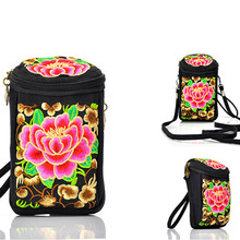 Vintage Embroidery bag Boho Ethnic Embroidered canvas shoulder messenger bags Hmong Handmade mini small camera coins bags