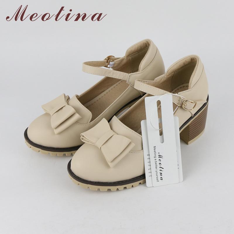 HTB1GrT1SXXXXXXGaXXXq6xXFXXXr - Meotina Women Pumps Lolita Shoes Platform High Heels Pink Shoes Bow Mary Jane Ladies Sweet Party Shoes Size 33-43 Zapatos Mujer
