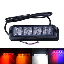4 LED Red Blue Yellow White Car Police Lights Flash Truck Emergency Beacon Light Bar Hazard Strobe Warning Policia Universal(China)