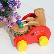 SUKIToy Kid's Soft Montessori Wooden Creature Blocks Toy Set Bear Beat Drums Noise Pull Early Learning Educational Toy