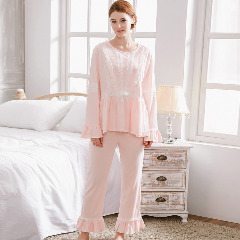 Breastfeeding Nightgown Long Sleeve Cotton With Opening Design Nursing Pajamas Suit Set for Woman Plus size Maternity Sleepwear<br>