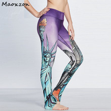 Buy Maoxzon Womens Sexy Fitness Slim Leggings Statue Liberty Print Patchwork Casual Active Workout Skinny Pants 3XL Female for $16.18 in AliExpress store