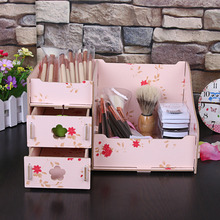 DIY Pink  Assembly Wooden Flower Jewelry Box Cosmetic Makeup Storage Box Desk Organizer Wooden Case Container