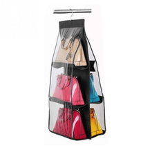 6 Pocket Transparent PVC Handbag Convenience Wardrobe Closet For Purse Organizer With Pockets Hanger Storage Girl best gift toy