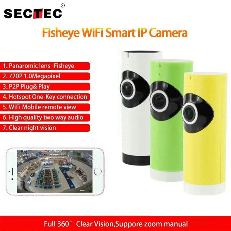 SECTEC 180 Degree Mini WiFi IP Camera 720P HD Wireless Baby Monitor Fisheye Camera Network Audio Surveillance Night Vision Cam<br>