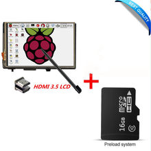 "3.5"" LCD HDMI USB Touch Screen 1920x1080 LCD Display Audio with 16G micro SD card for Raspberry Pi 3 Pi 2 (Play Game Video)(China)"