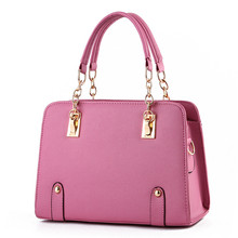 Fashion PU Women Handbag Metal Chain Shoulder Bag Coral Pink Tote Clutch Crossbody Messenger Zipper
