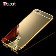 Mi5 Gold Plated Cases For Xiaomi Mi5 Aluminum Metal Frame + Mirror Acrylic Back Cover Case For Xiaomi Mi 5(China)