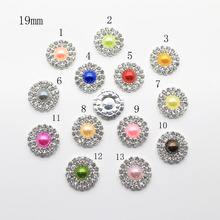 19mm 10 pcs / lot mixed Color Crystal Rhinestone Buttons for Sew on Garments , scrapbooking With sewing accessories.