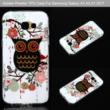 Golden Powder Transparent Edge Blue Jellyfish OWL IMD TPU Back Cover For Samsung Galaxy A3 A5 A7 2017 Cell Phone Cases