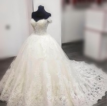 Vestido de noiva Luxury Princess Ball Gown Wedding Dresses 2017 Hot& Cheap Off the shoulder Lace Bridal Gowns Robe De Mariage(China)