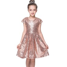 Baby Girls Chiffon Party Evening Dress W/Sequins Kids Short Sleeve Princess Costume For 3-7Y(China)