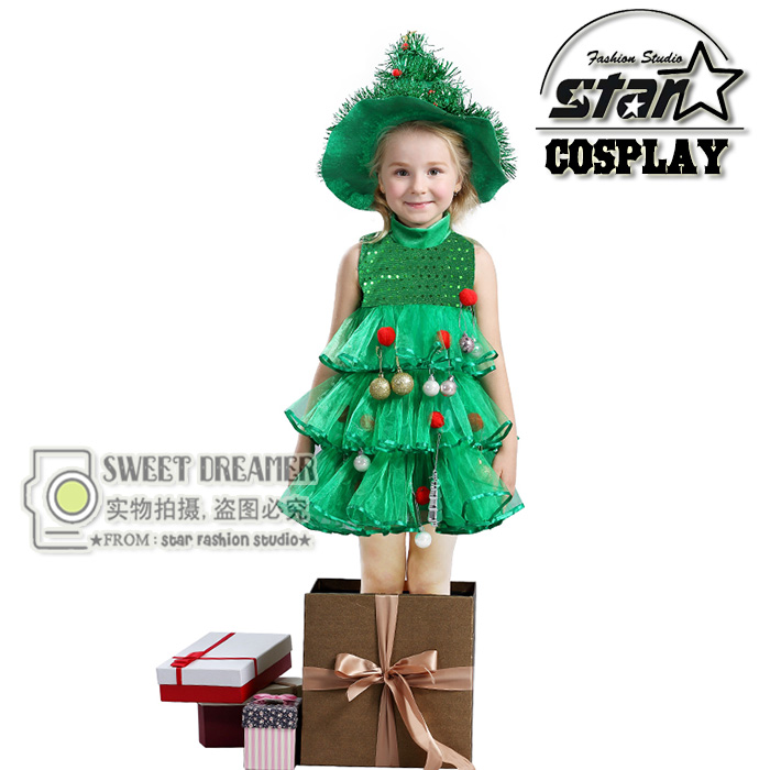 2018 Christmas Tree Girls Dress Princess Layered Dance Performance Dresses Party Clothing Children Costumes for New Year Gifts<br>