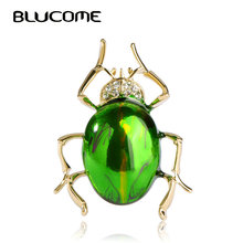 Blucome Shiny Green Insect Brooch Gold-color Alloy Brooches Women Kids Birthday Gifts Clothes Decoration Suit Collar Coat Pins