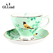 European New Style Ceramic Coffee Cup Saucer Fashion Flower Bird Pattern Bone China Tea Cups Home Black Tea Teacup Set
