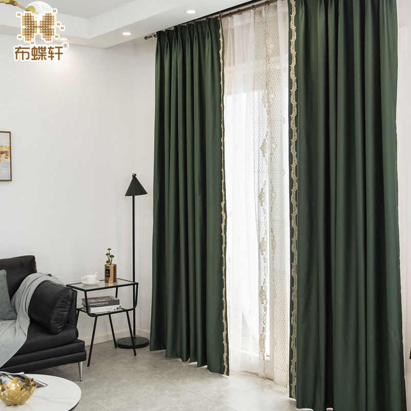 2019 New Arrival Chinese Style Luxury Faux Silk Dark Green Window Curtains for Living Room Bedroom Embroidery Lace Drape