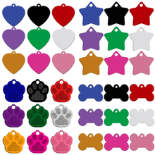 MOQ:80pcs/lot Engaved Double Sides Personalized Dog Name Tags Pet ID Phone Number Address Tag Pendant  9 Colors 4 Type Mixed