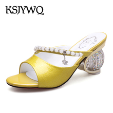 KSJYWQ Silver Mules Genuine leather Slippers 8 CM Chunky Heels Open-toe Women Sandals Pearl decoration Shoes Box Packing Q916-2