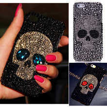 Cool 3D Skull Skeleton Blue Red Eyes Bling Capa Cases for iPhone X 8 7 Plus 6 Plus 5s 5 SE 5C 4s 4 luxury Rhinestone Cases(China)