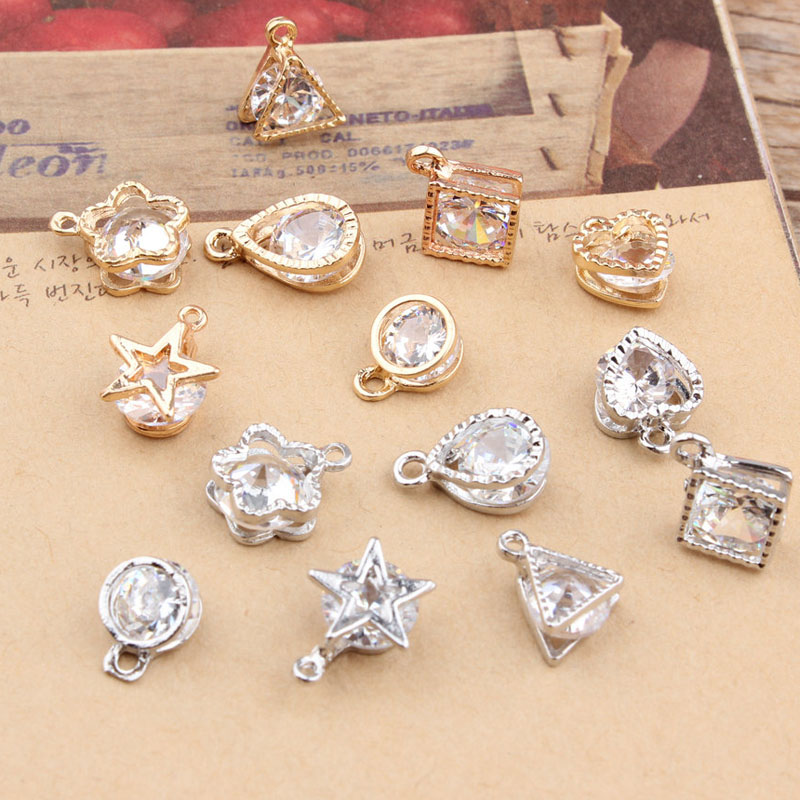 10pcs Exquisite Jewelry Handmade Square Charms Pendant DIY Earrings Necklace