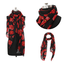 Newly Design Fashion Women Red Poppy Scarf Print Long Scarves Flower Beach Wrap Ladies Stole Shawl Drop Shipping